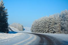 Winter rural highway in frosty day. Russia royalty free stock photos