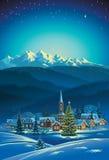 Winter rural holiday landscape. vector illustration