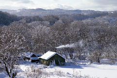 Winter  rural house Stock Photo