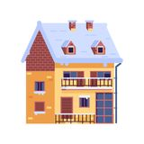Winter Rural House with Chimney wintertime Stock Images