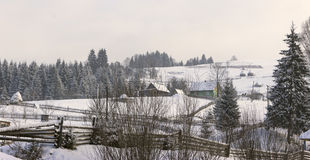 Winter rural landscape. In the Carpathian mountains Stock Photo