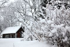 Winter Rural Landscape, House Royalty Free Stock Photo