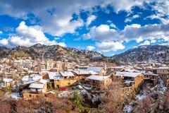 Winter rural landscape. Kakopetria village. Nicosia District. Cy Royalty Free Stock Photo