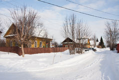 Winter rural landscape on a sunny day, the city of Perm Stock Photos