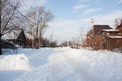 Winter rural landscape on a sunny day, the city of Perm Stock Images