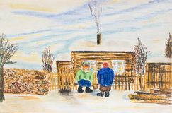Winter rural landscape with two women. The pastel drawing. Two women near a wooden house Royalty Free Stock Photos
