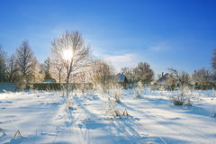 Winter rural landscape with  village and snow Stock Image
