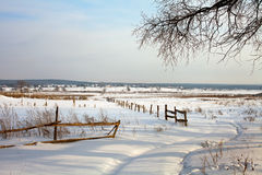 Winter rural road. Covered with snow royalty free stock photo