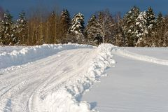 Road to the forest. Winter rural road through the snow-covered forest Royalty Free Stock Photo