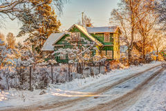Winter rural road and trees in snow Royalty Free Stock Photo