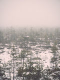 Winter rural scene with fog and white fields - retro vintage eff Royalty Free Stock Photos