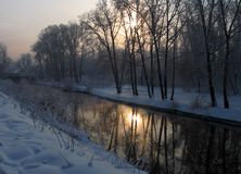 Winter in Russia. Russian cold winter stock photography