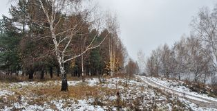 Winter in Russia. Winter begins, the first snow on the bank of the Volga River, in Russia Stock Photos