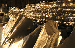 Winter in Russia, Kazan, Tatarstan. Ice formations under a bridge in Kazan, Tatarstan, Russia, at sunset Stock Photos