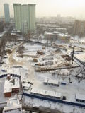 Winter in Russia. Severe snowfall in Moscow. Construction works in the snow during severe winter in Moscow Stock Photo