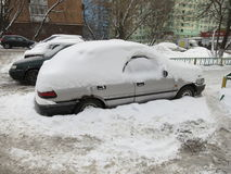 Winter in Russia. Severe snowfall in Moscow. Moscow, Russian Federation - February 18, 2012 Royalty Free Stock Photo