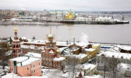Winter russian ancient city Nizhny Novgorod Royalty Free Stock Images