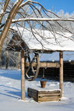 Winter, russian country mineshaft Royalty Free Stock Images