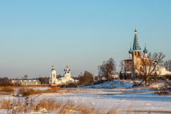 Winter Russian landscape. Village Dunilovo Royalty Free Stock Photos
