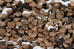 Winter Russian provincial landscape. Texture of firewood royalty free stock image