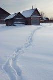 Winter russian village. Stock Photos