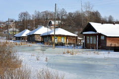 Winter in russian village Royalty Free Stock Image