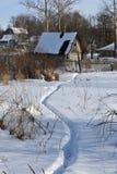 Winter in russian village Stock Image