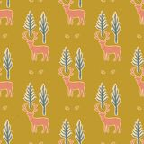 Winter Rustic Tree and Reindeer Lino Cut Texture Seamless Vector Pattern stock illustration