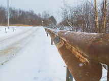 In winter, a rusty old hammer, the safety of the road Royalty Free Stock Photos