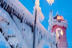 Winter-Südhafen-Leuchtturm Stockfoto