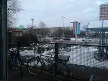 Winter s bahnhof Ahrensfelde Lizenzfreies Stockfoto