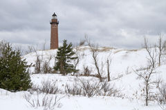 Winter's Calm at Silver Lake. Winter at Little Sable Lighthouse -- Silver Lake State Park, Mears, Michigan, USA Stock Images