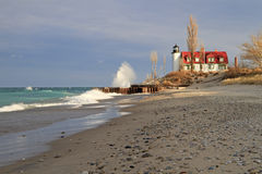 Winter's Coming. Winter's Waves - Point Betsie Lighthouse, Frankfort, Michigan, USA Royalty Free Stock Photo