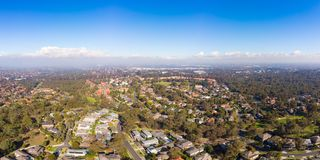 View over Macleod in Melbourne. An winter`s day aerial view over the suburb of Springthorpe in Macleod, Melbourne, Australia stock photo