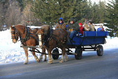 A winter's hay ride. royalty free stock image