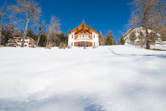 Winter's landsacpe. With an alpine hut Stock Photography