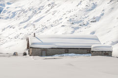 Winters landsacpe. With an alpine hut Royalty Free Stock Image