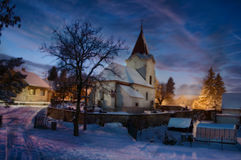On A Winter's Night. The view from my front window of our village church, on a winter'night Royalty Free Stock Photo