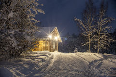Winter's night at countryside Stock Photography