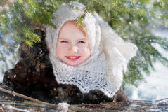 Winter's Tale. Portrait of girl with snowdrops Royalty Free Stock Images