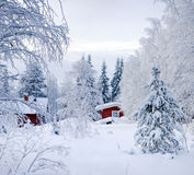 Winter's Tale. Red Finnish cottage Stock Photography