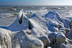 In winter, when it`s very cold, the sea is freezing and it`s spectacular. All is white and  everything is white and you see formidable forms of ice; even Royalty Free Stock Photography