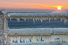 In winter, when it`s very cold, the sea is freezing and it`s spectacular Royalty Free Stock Image