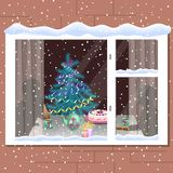 Winter`s window. Festively laid the table, at the table two stock images
