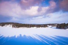 Winter on Saimaa lake. Rural landscape. Finland stock photography
