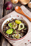 Winter Salad with Wild Rice, leek and Fresh Herbs Stock Photo
