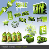 Winter sale. Different green sale tags, stickers and threedimensional objects Stock Photo