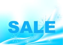 Winter sale. Word 'sale' at a cool blue background Royalty Free Stock Images