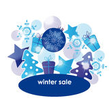Winter sale. Blue - white abstract background on winter sale Stock Images