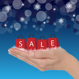 Winter sale. Female hand holding shopping bags for winter sale stock illustration